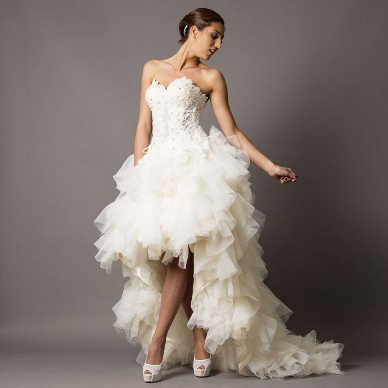 Robe à Volants Plus Courte Devant Vente Robes De Mariée Et