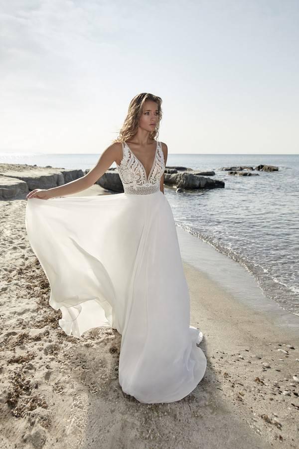 robe de mariée bohème fluide mousseline et