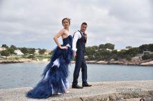 Robe bleue en jean et dentelle cr ation sur mesure robe for Robes de mariage double baie